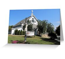 Statue In Front Of Resurrection Lutheran Church Greeting Card
