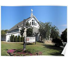 Statue In Front Of Resurrection Lutheran Church Poster