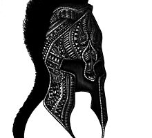 Spartan greek warrior helmet black and white ornate illustration by GinjaNinja1801