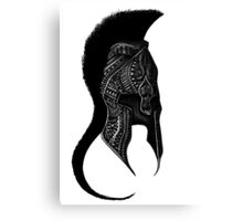 Spartan greek warrior helmet black and white ornate illustration Canvas Print