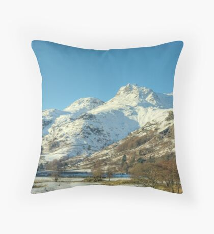 The Langdale Pikes in January Throw Pillow