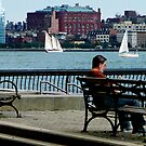 Relaxing by the Manhattan Skyline by Susan Savad