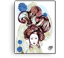 Asian American Kissaeng -Red Mumms Canvas Print