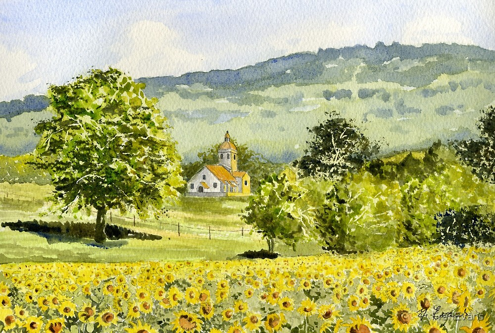 Chapel in Field and Sunflowers by FranEvans