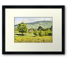 Chapel in Field and Sunflowers Framed Print