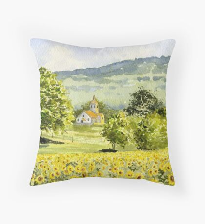 Chapel in Field and Sunflowers Throw Pillow