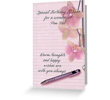 Birthday Card For Penpal With Orchid And Pen Greeting Card