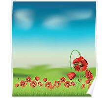 Poppy with Grass 4 Poster