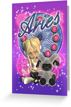Aries Zodiac Birthday Card With Moonies Cutie Pie And Sheep by Moonlake