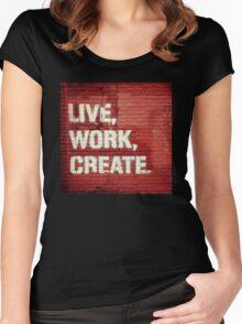 Live, Work, Create. New York City Street Art Women's Fitted Scoop T-Shirt