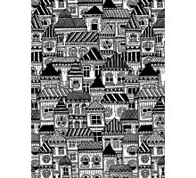 Black and White Busy Body Houses Photographic Print