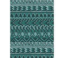 Tribal Ocean Blue Aztec Pattern Photographic Print
