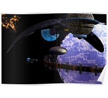 Ring Habitat with Spacecraft Poster