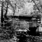 Knoebels Grove Covered Bridge_Black and White by Hope Ledebur