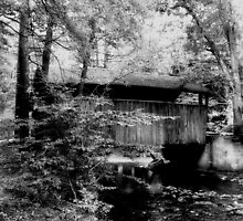 Knoebels Grove Covered Bridge_Black and White by Hope Ledebur