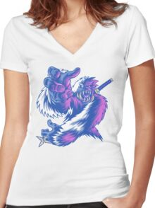 Just the Ninja Yeti Women's Fitted V-Neck T-Shirt
