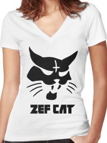 Zefcat (black) Women's Fitted V-Neck T-Shirt