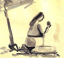 women looking at apple by Priel Hackim