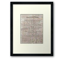 reality  questions and answers Framed Print