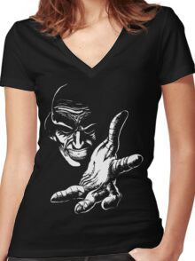 Evil Genius (On Black) Women's Fitted V-Neck T-Shirt