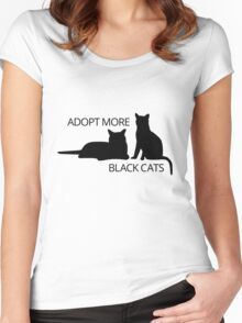 Adopt More Black Cats Women's Fitted Scoop T-Shirt