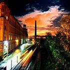 Train at Night Salts Mill, Saltaire by Lorne  Campbell