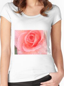 Peach Rose Blossom Women's Fitted Scoop T-Shirt