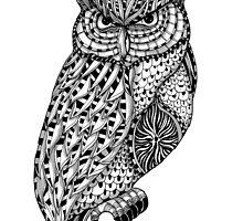 Barn owl bird black and white ornate illustration by GinjaNinja1801