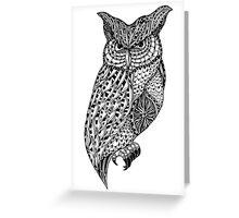 Barn owl bird black and white ornate illustration Greeting Card