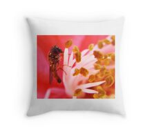 Macro Hover Fly Throw Pillow
