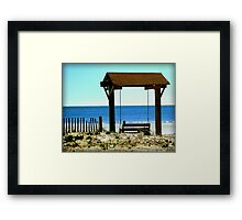 Crow on a swing Framed Print