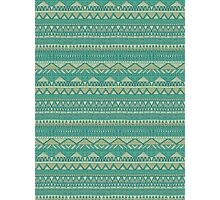 Tribal Turquoise Aztec Pattern Photographic Print