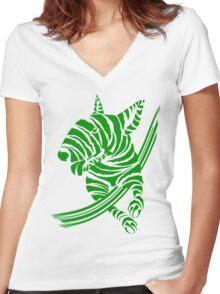 Zebra EBT Green and White  Women's Fitted V-Neck T-Shirt