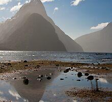 Reflections - Mitre Peak by Geoff Hunter