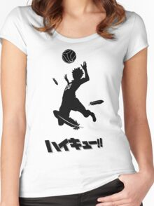 Haikyuu!! Hinata spike - black Women's Fitted Scoop T-Shirt