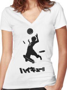 Haikyuu!! Hinata spike - black Women's Fitted V-Neck T-Shirt