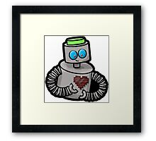 Robot with Pixel Heart Framed Print