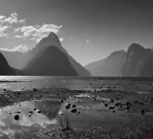 Monochrome Mitre Peak by Geoff Hunter