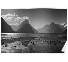 Monochrome Mitre Peak Poster