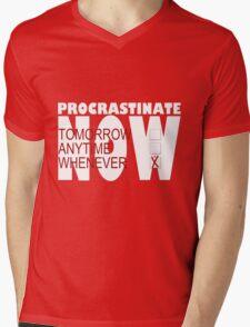 Procrastinate on black Mens V-Neck T-Shirt