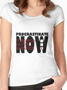 Procrastinate on White Women's Fitted Scoop T-Shirt
