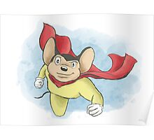 Mighty Mouse Digital Watercolor Poster