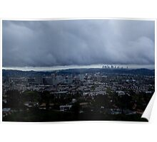 LA & Glendale skylines Poster