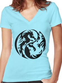Dragon yin yang. Women's Fitted V-Neck T-Shirt