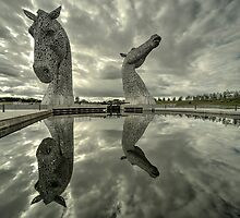 Reflected Kelpies  by Rob Hawkins