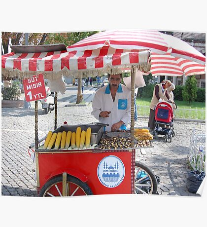 Vendor outside the Hagia Sophia and Blue Mosque  Poster