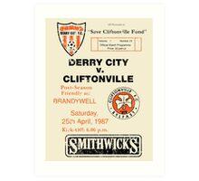 Derry City vs Cliftonville Retro Match Programme Art Print