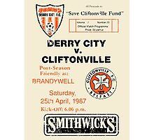 Derry City vs Cliftonville Retro Match Programme Photographic Print