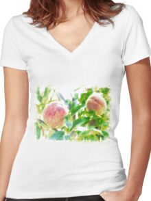 Sunny Day Peaches Women's Fitted V-Neck T-Shirt