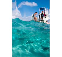 Stingrays under the boat Photographic Print